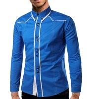 Brand 2017 Fashion Male Shirt Long Sleeves Tops Personalized Splic Mens Dress Shirts Slim Men Shirt