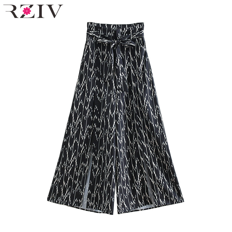 Summer women's trousers casual printed belt decorative   wide     leg     pants