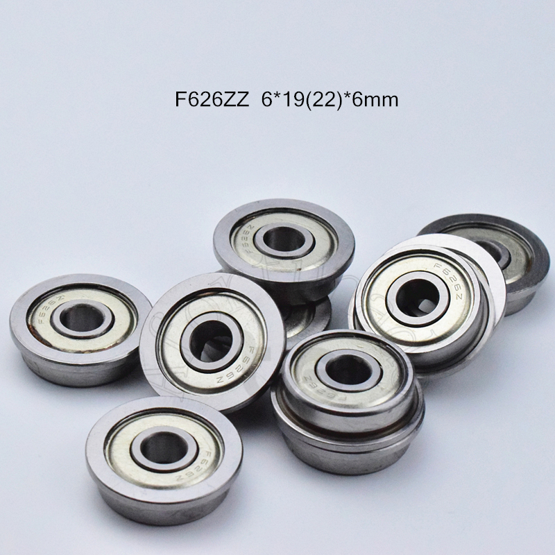 F626zz 6*19(22)*6mm 10pieces Flange Bearing  Metal Sealed  Free Shipping  ABEC-5 Chrome Steel Miniature Bearings Hardware