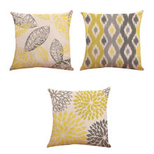 Decorative Cushion Cover Throw Pillow Cases Soft 45*45cm Cotton Linen Home Sofa Yellow Grey White Pillow Decor(China)