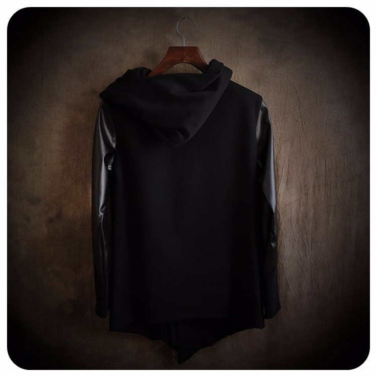 Cultivate Morality Fashion Men Hoodies Leather Sleeve Splicing Inclined Zipper Hooded Big Yards Fleece Jackets 3