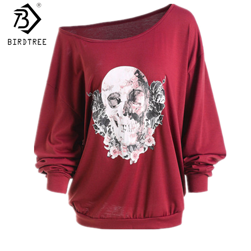 Europa y América Navidad mujeres feas camisetas esqueleto Sexy fuera del hombro camisa Halloween calabaza diablo Pullovers Tops T7N149A