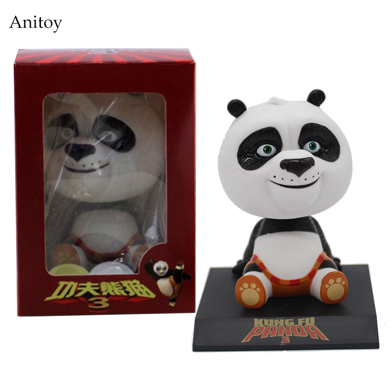 Movie Kung Fu Panda 3 Po Bobble Head Car Toys PVC Figures Collectible Model Gift 4 10CM KT1896 kung fu panda 3 po piggy bank pvc action figure collectible model toy kids gift 18cm