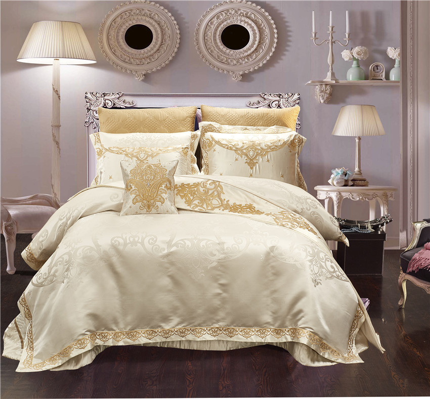 Luxury Wedding Bedding set 10Pcs Queen King size Bed sheet Bed spread Satin Cotton Duvet coverset