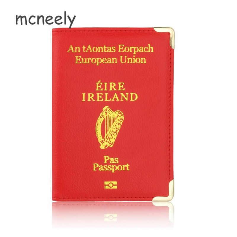 Leuke Ierland Reizen Bescherm Paspoorthouder Case voor Ierland Lederen Paspoort Cover & Credit Kaarthouder Case