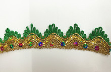 15Yard/lot 3.5cm New colorful Sequin Beaded Lace Trims for CostumeGownsDancing Dresses&DIY Crafts