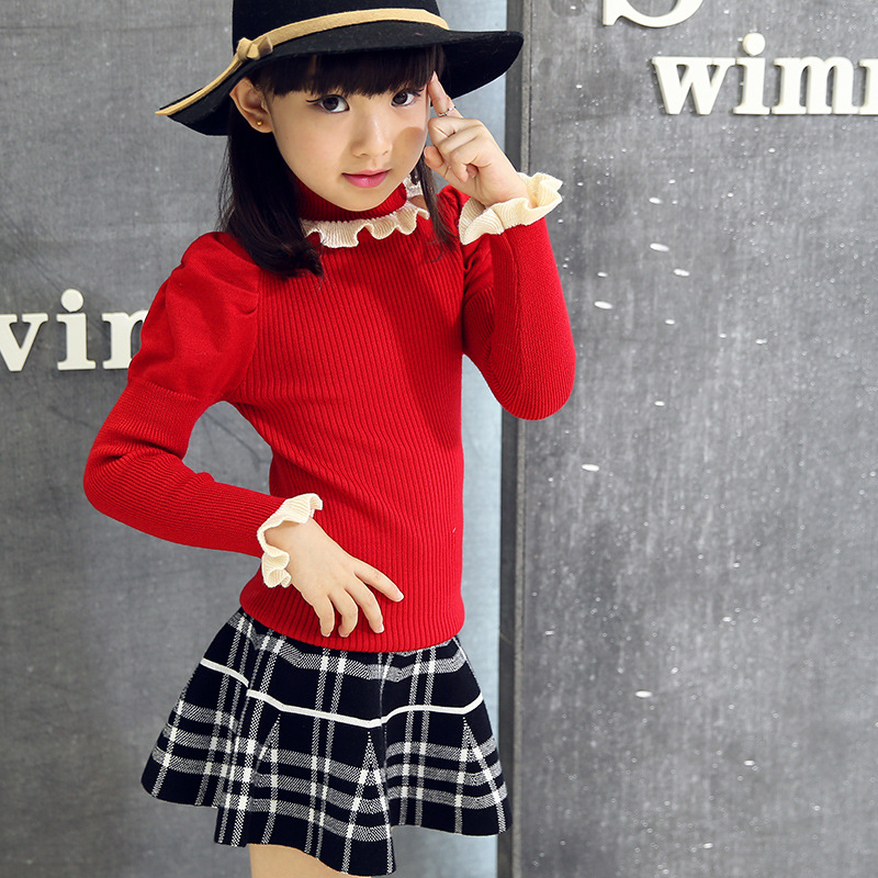 Girls Child Korean Female s Sweater Long Sleeve All match Kids Clothing 5 Style Woolen
