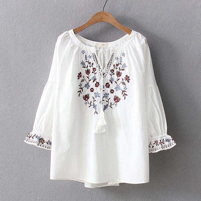 Bohemian blouse women pullover female autumn winter Spain style boho ethnic flare sleeve embroidery shirt blusa top1261