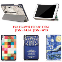 CY Slim Folio Stand PU leather Case  For Huawei Honor Tab2  Tablet2 JDN-AL00  JDN-W09 colorful print Fashion cases Cover