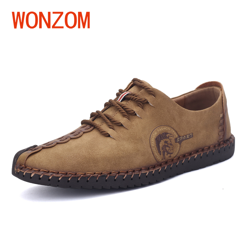 WONZOM 2017 New Fashion Casual Men Shoes Breathable Comfortable Leather Shoes For Men Simple Solid Lace-up Male Shoes Size 38-46 klywoo new white fasion shoes men casual shoes spring men driving shoes leather breathable comfortable lace up zapatos hombre