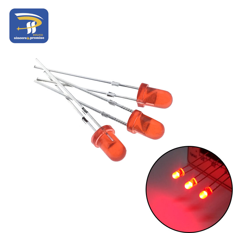 5 цветов s* 20 шт = 100 шт/1 цвет = 100 шт F3 3 мм светодиодный диодный светильник Ассорти комплект зеленый синий белый желтый красный набор компонентов «сделай сам» - Цвет: Red 100pcs