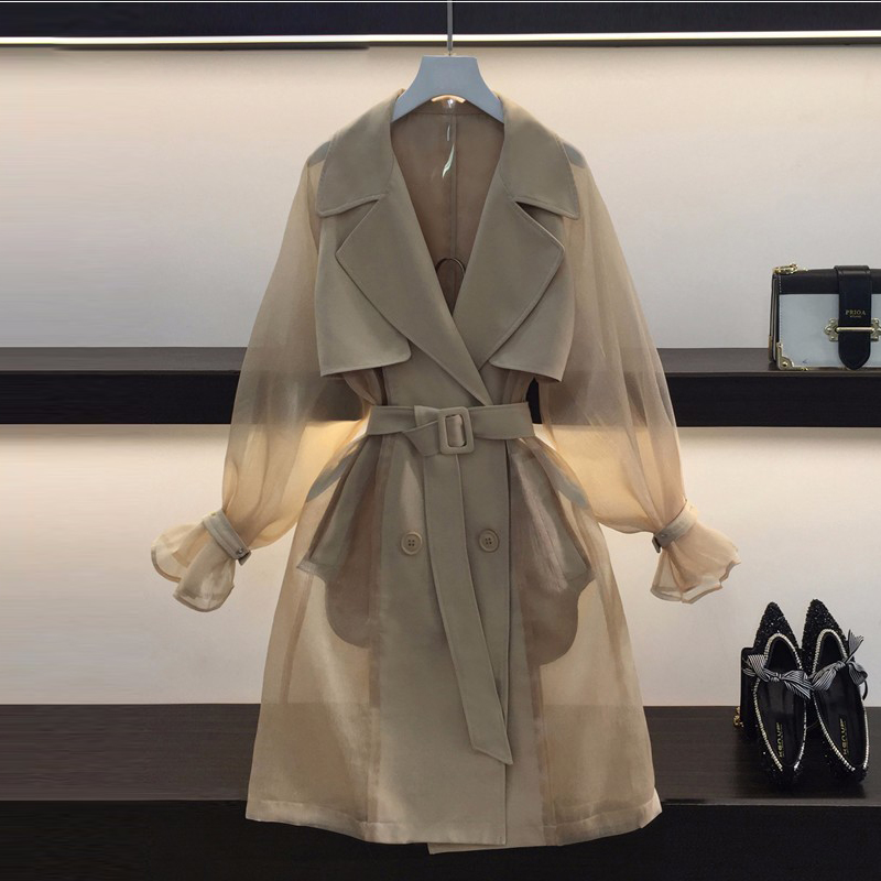[MENKAY] 2018 Spring Summer Transparent Lurex Tulle Spliced Long Sleeve Belted High Waist Long Trench Coat Women New