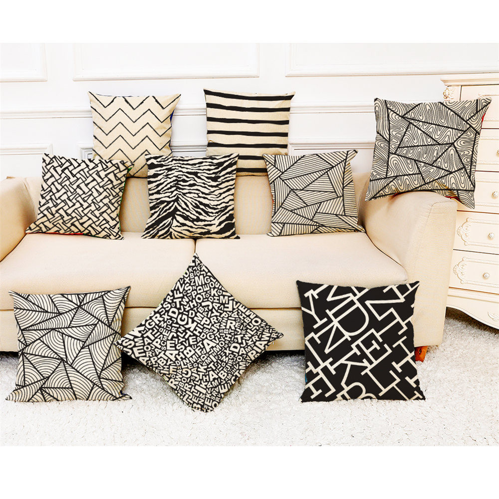 Cushion Cover Black White Style Letters Striped Geometry Print Throw Pillowcase Pillow Covers Home Decor #10