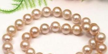 "fashion AAA 10-11MM natural Pink pearl necklace 18"" 36"" Yellow clasp"