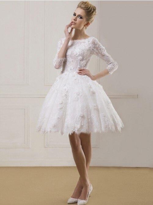 Aliexpress.com : Buy Knee Length Ball Gown Wedding Dress short ...