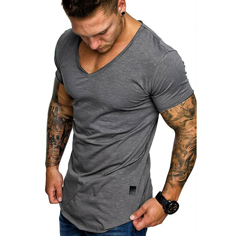 2019 New Style Mens Short Sleeve Summer T Shirt Slim Fit Cotton V Collar T Shirts For Men Size To  M-2XL Men's Fitness Tees