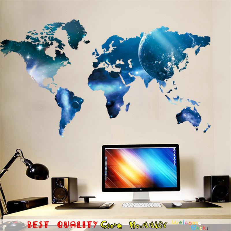 3d world map wall stickers outer space star sky home office room 3d world map wall stickers outer space star sky home office room decal wall art paper craft waterproof sunscreen wall decor in wall stickers from home gumiabroncs Images