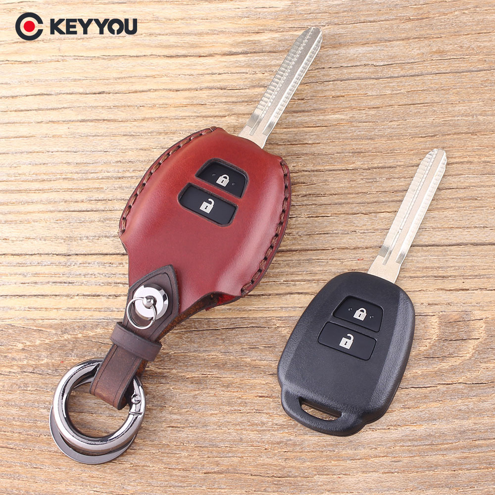 KEYYOU Leather Key Shell Case For Toyota Corolla Camry Reiz New Vios RAV4 Crown 2 Buttons Key Fob Cover наклейки for toyota 2015 toyota toyota corolla vios reiz jiamei camry yaris rav4