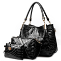 3pc/Set 2017 New Crocodile Bolsa Feminina Patent Leather Designer Handbag Sacs A Main Marque Celebre Handbag+Messenger Bag+Purse