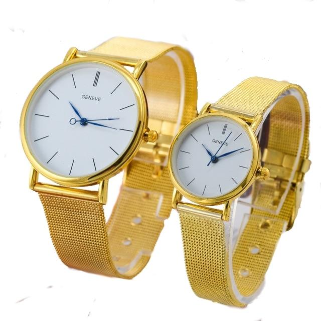 1 pc TOP Metal Watch Golden Silvered wristwatch MEN WOMEN Lovers dress quartz wristwatch Fashion Watch Geneva Style