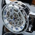 Azul Números Roma Relojes Hombres Marca de Lujo Reloj Esqueleto banda de cuero Transparente Steampunk Reloj Mecánico de Acero Inoxidable