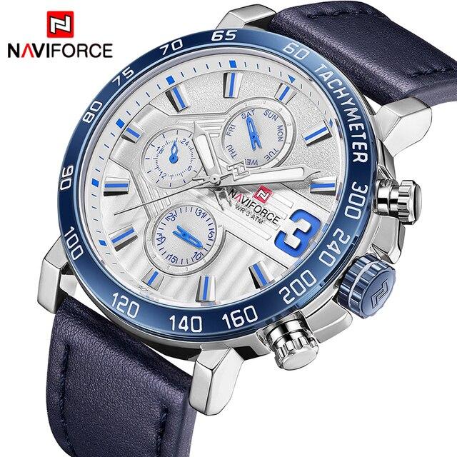 למעלה מותג יוקרה NAVIFORCE שעונים גברים אופנה עור קוורץ תאריך 6 חיוג שעון מקרית ספורט זכר שעון יד Montre Homme