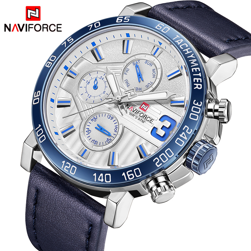 Top Brand Luxury NAVIFORCE Watches Men Fashion Leather Quartz Date 6 dial Clock Casual Sports Male Wrist Watch Montre Homme naviforce watch men top brand luxury gold stainless steel army military quartz wristwatches clock male sports watch montre homme