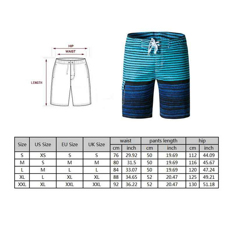 2019 Горячие мужские купальники полосатые пляжные шорты быстросохнущие Летние повседневные плавки мужские спортивные шорты для бега 2XL