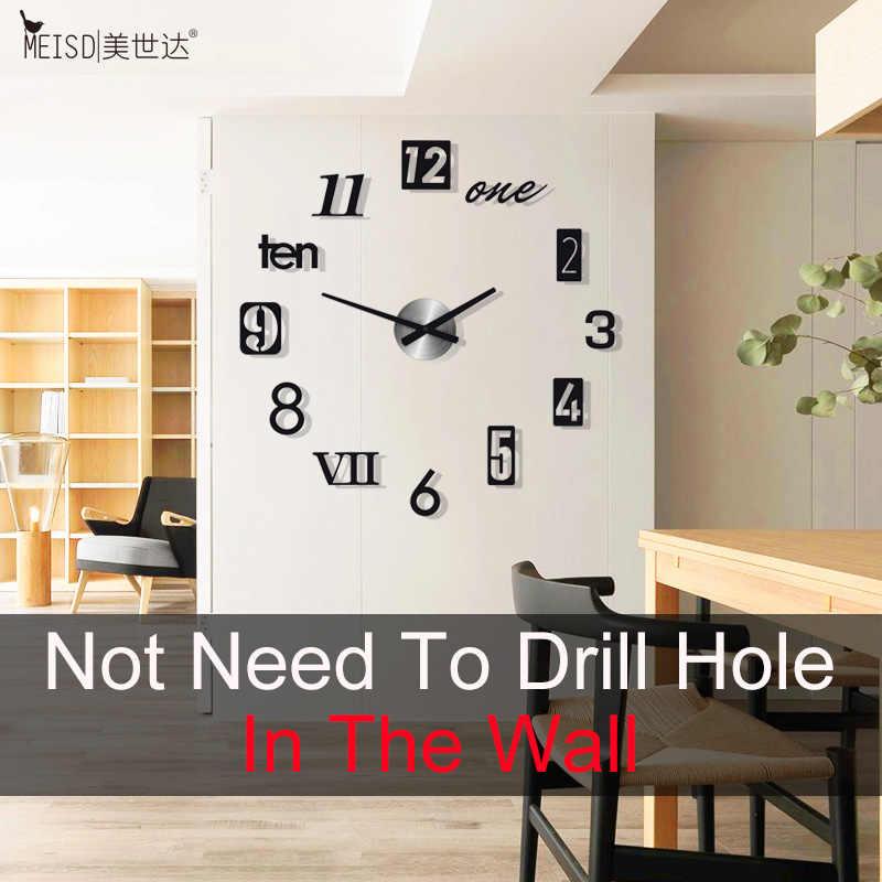 New 2018 Brief 3D DIY Large Wall Clock Modern Design Home Decoration Acrylic Quartz Wall Clock Sticker Black Horloge Living Room