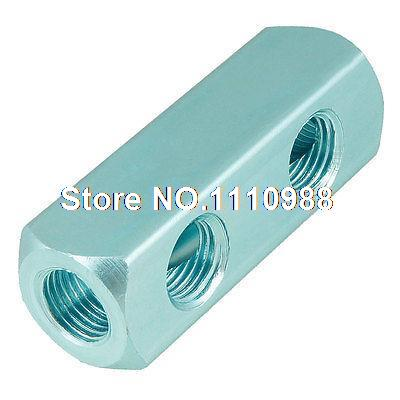1/4 PT Threaded Air Pneumatic Cylinder 2 Way Aluminum Manifold Block Splitter air compressor 1 2bsp 2 way hose pipe inline manifold block splitter teal blue