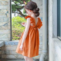 Backless 2017 Summer Bohemian Style Girls Dress Sundress For Girls Flare Sleeve Beach Dress Kids Clothes
