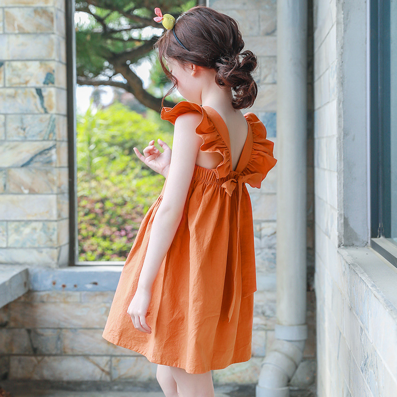 2020 Big Girl Dresses Summer Sundress For Girls Flare Sleeve Beach Dress Baby 100% Cotton Kids Clothes 5 7 8 9 10 11 13 14 Years