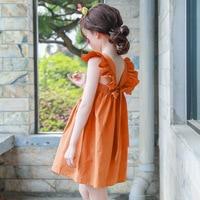 backless 2019 summer bohemian style girls dress sundress for girls flare sleeve beach dress kids clothes 5 6 7 8 9 10 11 14 T