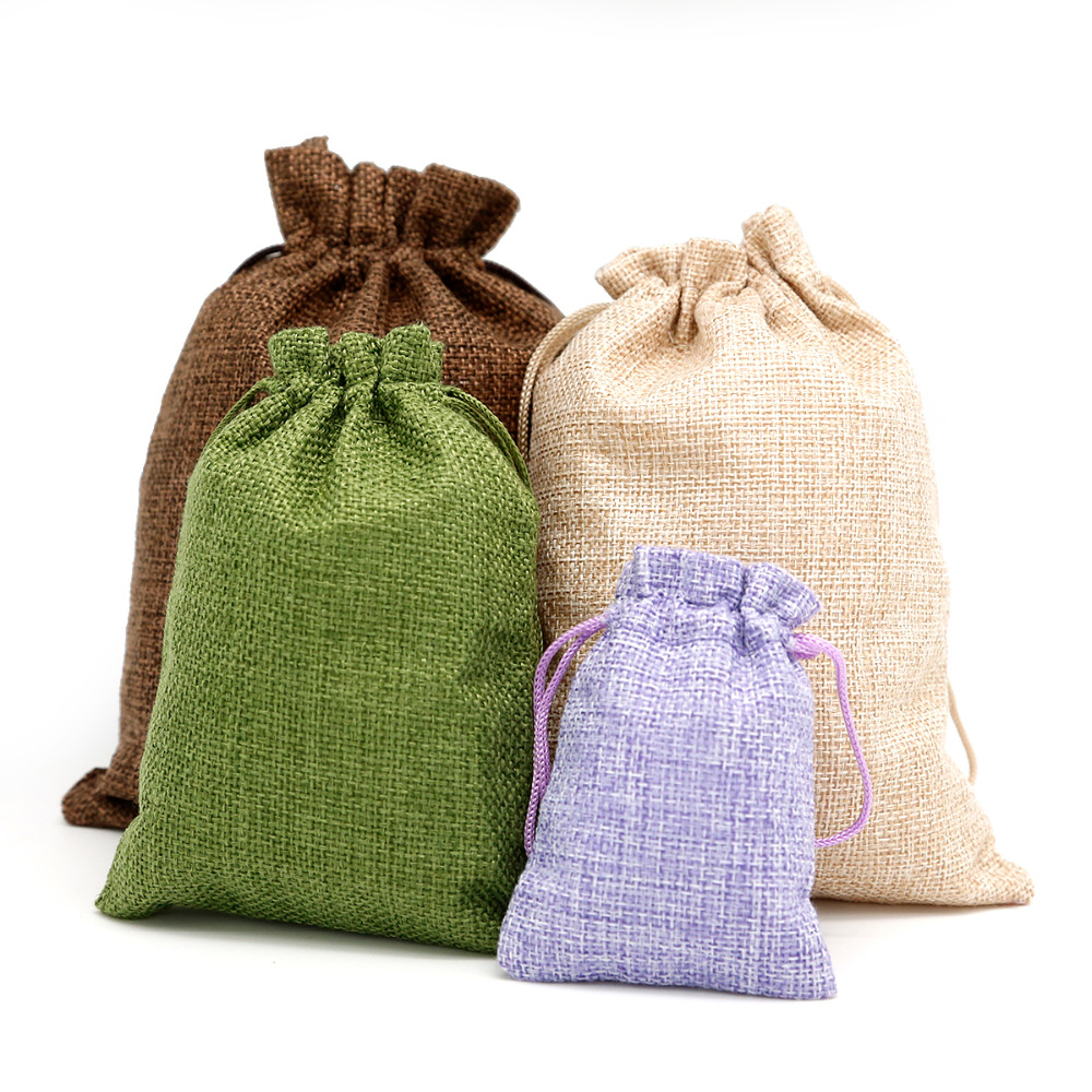 5pcs Cotton Linen Drawstring Pouch Custom Logo Jute Pouch Burlap Wedding Candy Gift Round Bottom Jewelry Packaging Bags