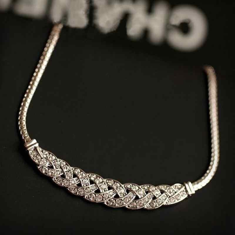 Superstar Twist Kleid Schlüsselbein Choker Halskette Für Frauen Halsketten High-end-Halsketten & Anhänger Österreichischen Kristall Pullover Kette