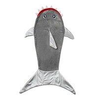 2-12Y crianças cobertor de lã animal tubarão crianças cobertor do bebê cobertor infantil saco de dormir saco de dormir sereia cauda presente de aniversário