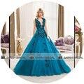 Sexy profundo escote en v vestido de bola vestidos de encaje sin espalda vestido de boda nupcial de Color azul vestido de noiva princesa 2015