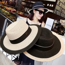 2019 Summer unisex sun hat casual vacation Panama straw women wide brim Beach jazz men hats Foldable Flat Straw cap