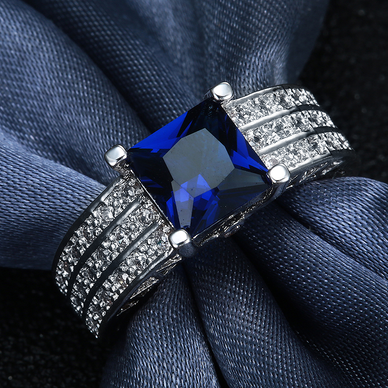 HOMOD New jewelry silver Color rings for factory womens engagement rings vintage jewelry large oval crystal promise ring