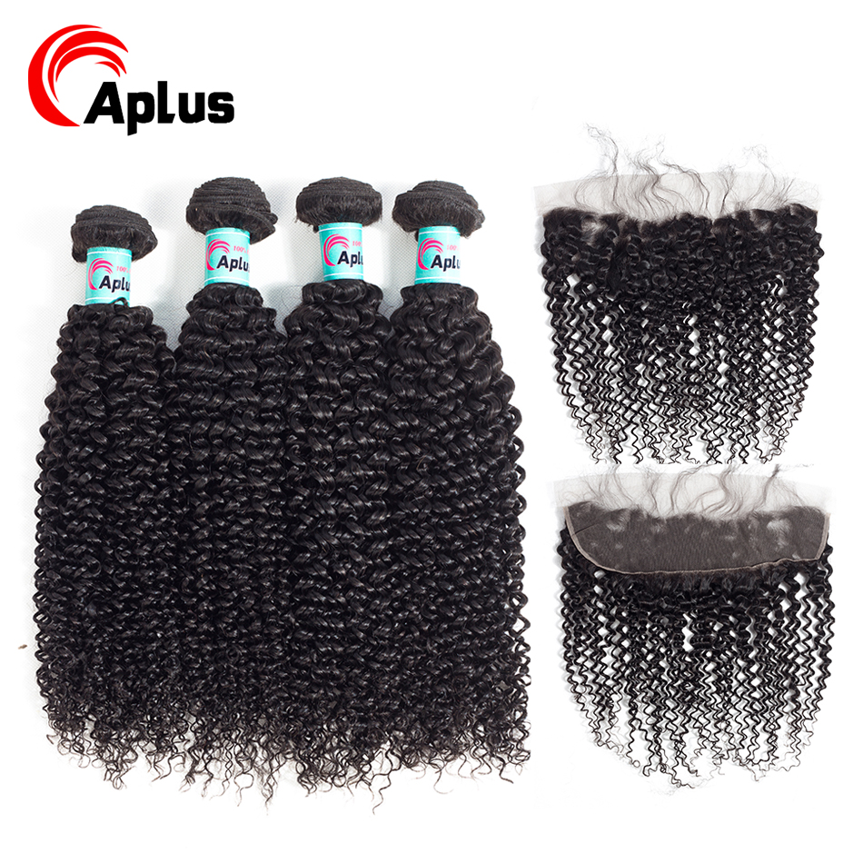 Aplus Indian Kinky Curly Hair Lace Frontal Closure With Bundles 5Pcs Kinky Curly Human Hair Cheap Bundles Of Hair With Frontals