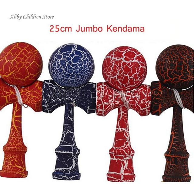 25cm Full Crack Jumbo Kendama Professional Wooden Toy Kendama Juggling Ball Game Gift Outdoor Sport Safety Ball Educational Toy