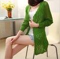 Новый бренд мода хлопок вязать шаль свитер 2015 весна лето женский сплошной цвет v-образным вырезом с длинными рукавами трикотажные кардиган тонкий ZL0232