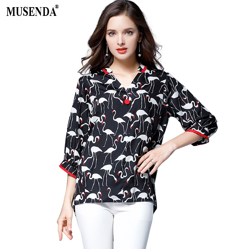 MUSENDA Plus Size Women Black Swan <font><b>Print</b></font> <font><b>Chiffon</b></font> Loose V-Neck Blouse 2017 Summer Lady Fashion Casual Shirt Office Street <font><b>Tops</b></font>