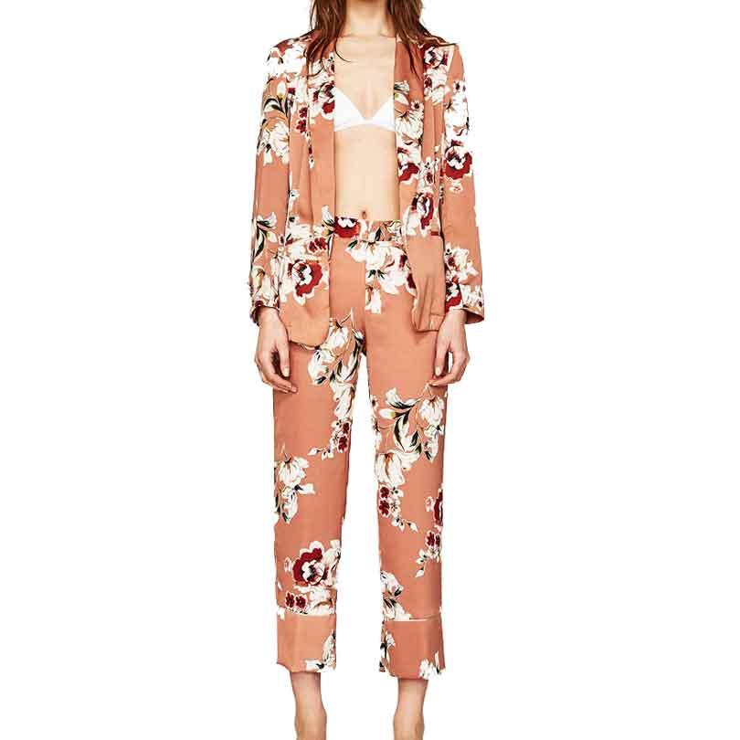 Mulheres Blazers e Jaquetas Blazer Terno Primavera Verão Fina Flor Imprimir Nenhum Botão Blazers Senhoras Ternos de Negócio Blazer Femme