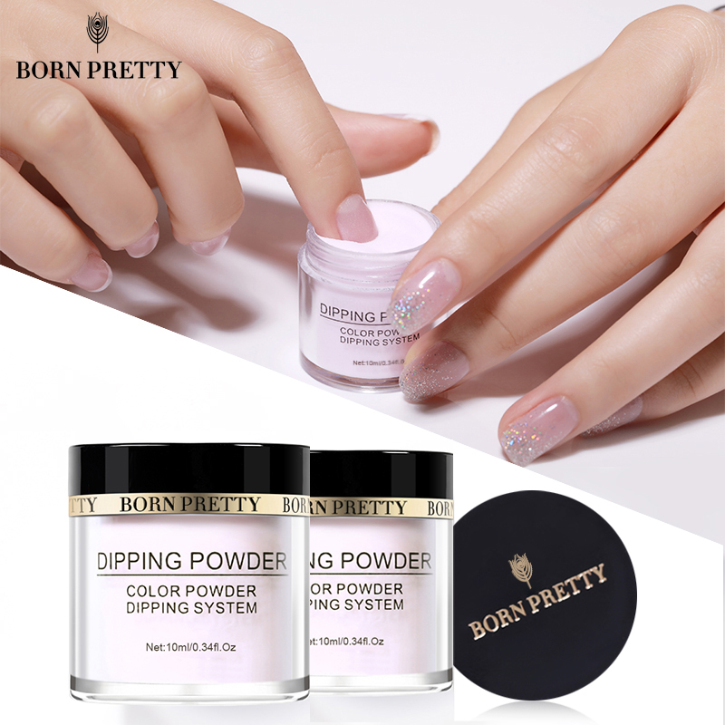 BORN PRETTY Dipping Nail Powders Gradient French Nail Natural Color Holographic Glitter Without Lamp Cure Nail Art Decorations