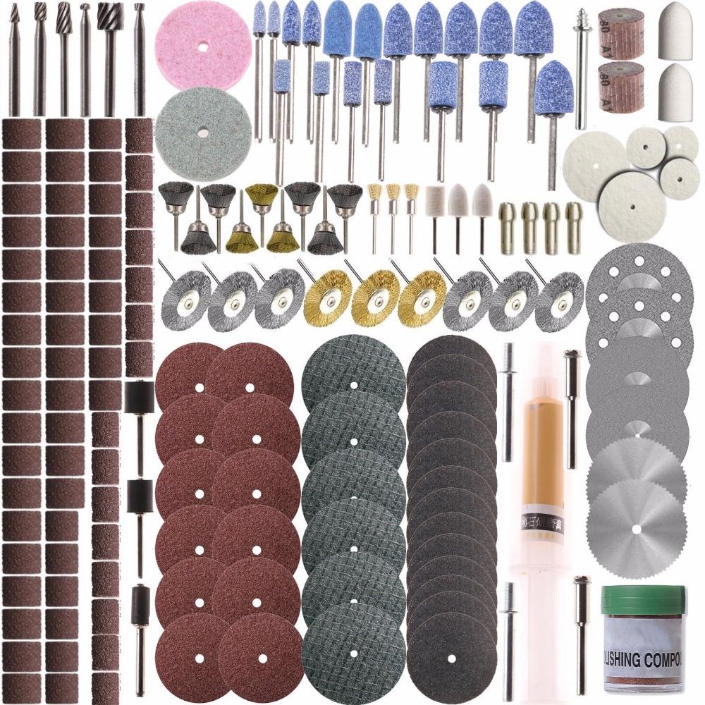 SPTA Rotary Tool Accessory Set - For Dremel Rotary Tools - Grinding, Sanding, Polishing --1/8 (3mm) Shank Pack of 217Pcs new 20pc fold felt sanding dremel accessories for rotary tools