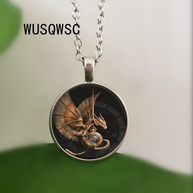 WUSQWSC 3 Colors Wholesale Art Glass Necklace Colorful Dragon Egg Necklace Game of Thrones Geekery Pendant Glass Picture Pendant