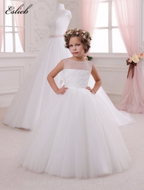 499f43fcbcc1 Appliques Sleeveless Holy Communion Infant Lace Up Kids Floor Length ...