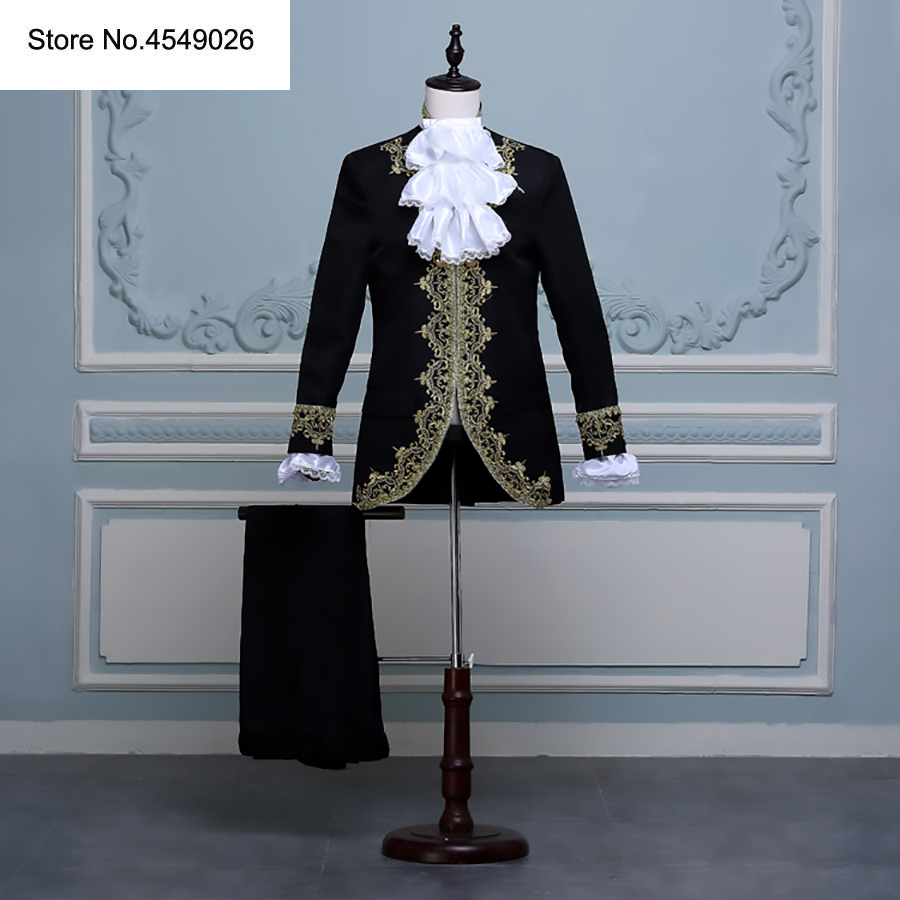 Classic Set Europe Gothic Style Golden Flower Slim Fit Blazer Palace Suits White Black Red Suit Men Wedding Party Prom Costume