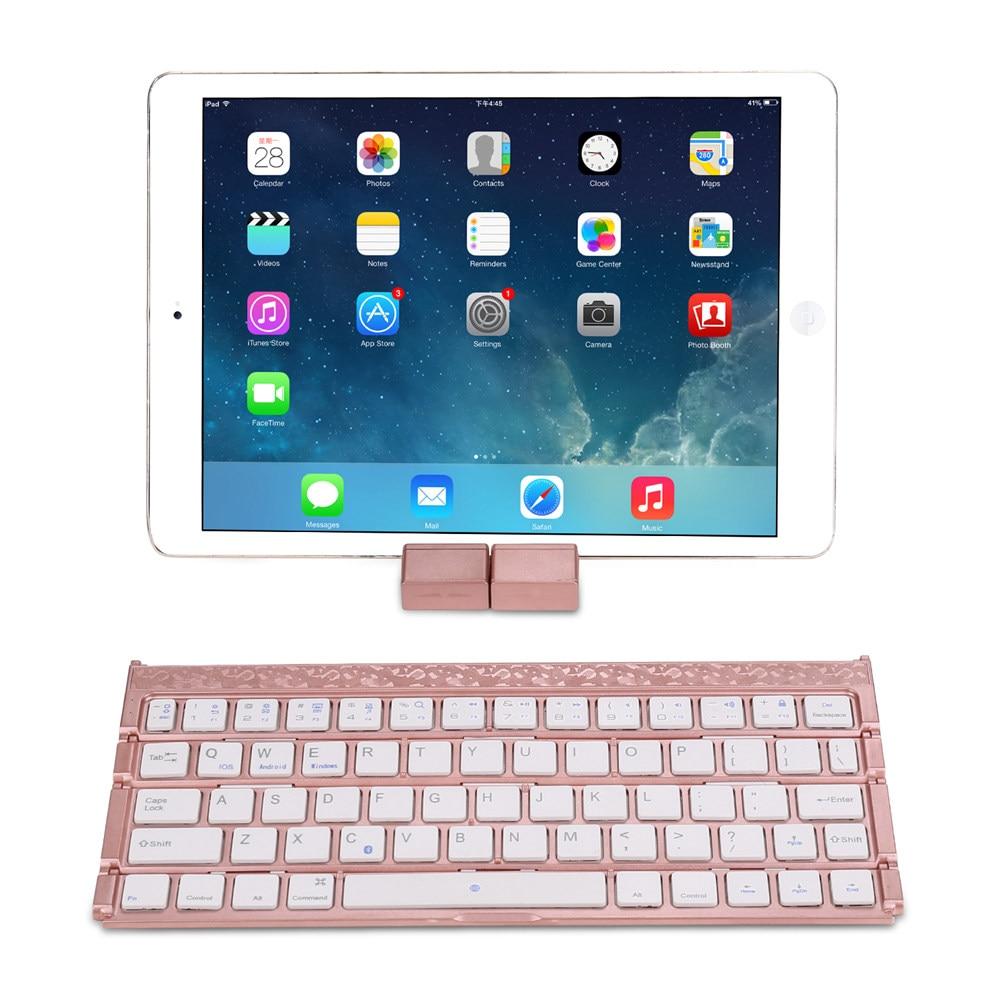 Ultra Mince Pliable Portable Rechargeable mi ni Sans Fil Bluetooth Clavier Avec Le Support de Béquille Pour Xiao mi mi pad mi Pad 1/2/3/4